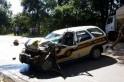Viatura policial com danos de média monta. Foto: Diário da Informação